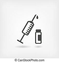 medical symbol. syringe and vial.