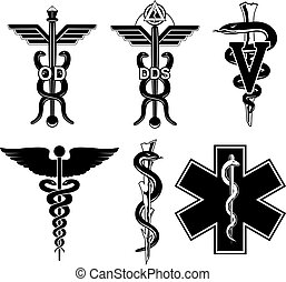 Medical Symbols-Graphic is an illustration of six medical symbols. Optometry, dentistry, veterinary, Caduceus, Rod of Asclepius, and the Star of Life.