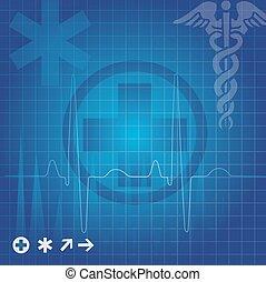 Medical symbols, illustration - Medical symbols in blue grid...
