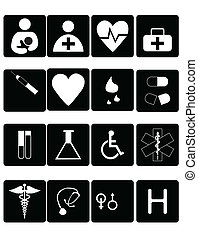 Medical symbols, tools, and medicine on white backdrop
