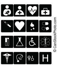 Medical symbols, tools, and medicine on white backdrop