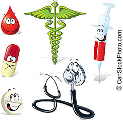 medical symbols with human face