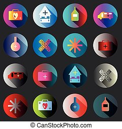 medical symbols with shadow color icon collection