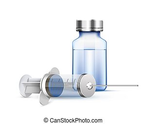 Medical syringe and ampoule. - Medical syringe and ampoule,...