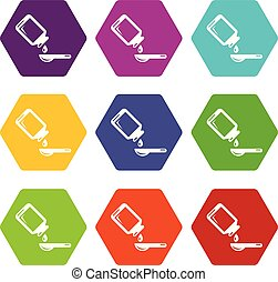 Medical syrup icons set 9 vector