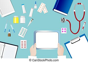 Top view of a medical table with doctor's hands holding blank tablet ready for your text.
