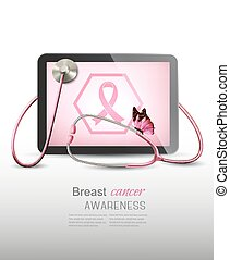 Medical tablet with breast cancer awareness symbol and a stethoscope. Vector