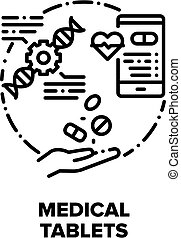 Medical Tablets Vector Icon Concept. Pain Killer And Healthcare Tablets, Medicaments For Treatment Disease And Pills Characteristics Phone App, Pharmaceutical Drug And Vitamin Black Illustration