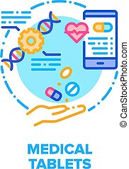 Medical Tablets Vector Icon Concept. Pain Killer And Healthcare Tablets, Medicaments For Treatment Disease And Pills Characteristics Phone App, Pharmaceutical Drug And Vitamin Color Illustration