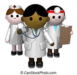 3D illustration of a team of medical professionals
