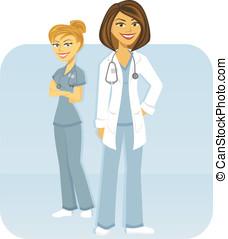Medical Team - A female medical team of doctor and nurse.