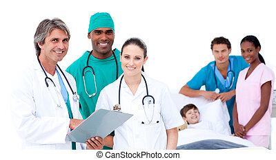 Medical team in a patient's bedroom