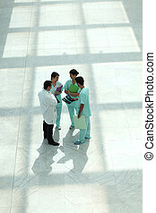 Medical team in an atrium