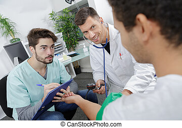 medical team interacting at the hospital