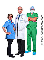 Medical team isolated on white
