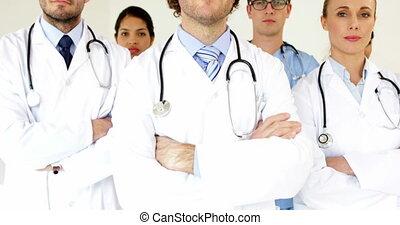 Medical team looking at the camera