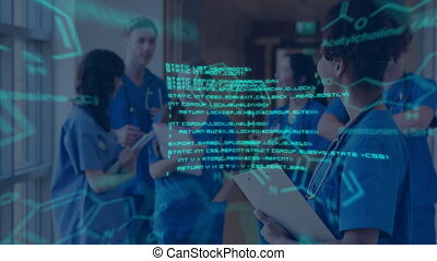 Medical team meeting with glowing data and diagrams