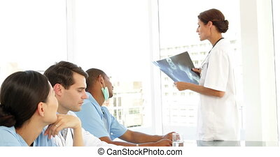 Medical team talking during a meeting