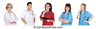 Medical team with pensive face