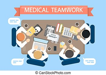 Medical teamwork illustration.