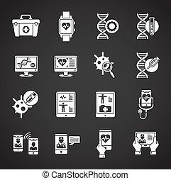 Medical technologies related icons set on background for graphic and web design. Creative illustration concept symbol for web or mobile app.