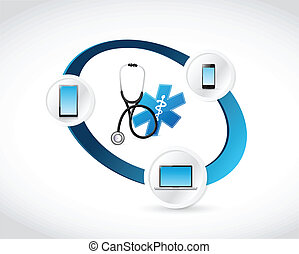 medical technology connected concept illustration design...