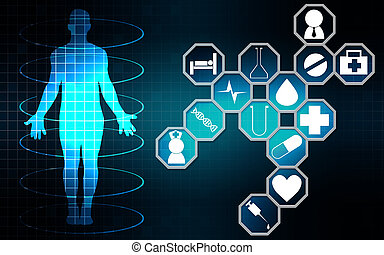 Medical technology icon with innovation concept