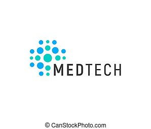 Medical technology logo concept, abstract blue dotted cross, vector illustration