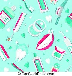 Medical teeth hygiene pattern vector