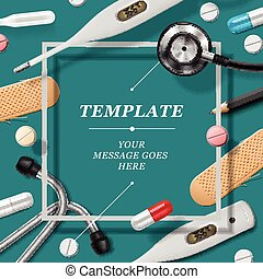 Medical template with medicine equipment, vector eps10...