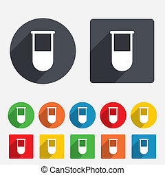 Medical test tube sign icon. Laboratory equipment symbol. Circles and rounded squares 12 buttons.