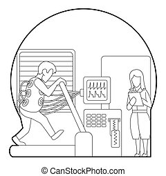 Medical testing person on treadmill concept
