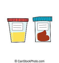 Medical tests. Urine and fecal analysis. Vector illustration...