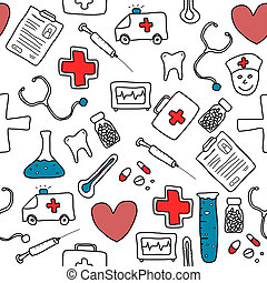 Medical texture - Seamless pattern with healthcare, medicine...