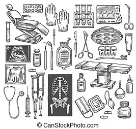 Medical therapy surgery vector sketch equipment
