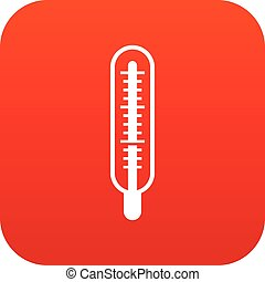 Medical thermometer icon digital red