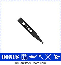 Medical thermometer icon flat