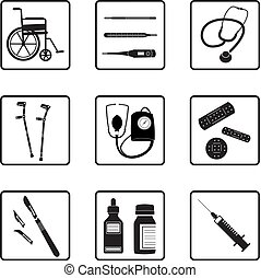 Medical tools and icons - medical tools silhouettes in black...