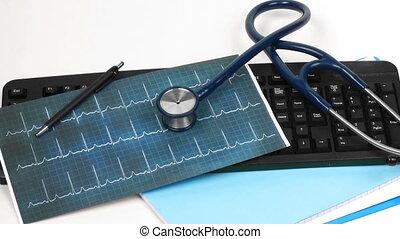 Medical tools on a deak