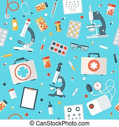 Medical Tools Seamless Pattern. Health Care Stuff Background