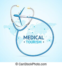 Medical Tourism Concept Banner Card with Realistic 3d Detailed Elements on a Map of Earth. Vector illustration