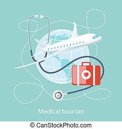 Medical Tourism. Icon of Traveling and Treatment - Flat...