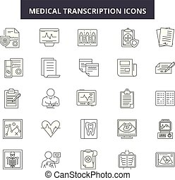 Medical transcription line icons, signs set, vector. Medical...