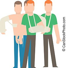 Multiple injury set trauma accident and human body safety people silhouette.