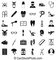 Medical treatment icons set, simple style - Medical ...