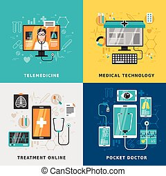 medical treatment online concept in flat design