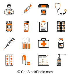 Medical two color icons set