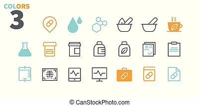 Medical UI Pixel Perfect Well-crafted Vector Thin Line Icons 48x48 Ready for 24x24 Grid for Web Graphics and Apps with Editable Stroke. Simple Minimal Pictogram Part 2-3