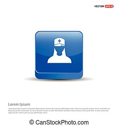 Medical user icon. - 3d Blue Button