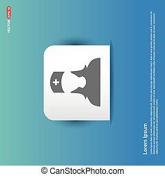 Medical user icon. - Blue Sticker button